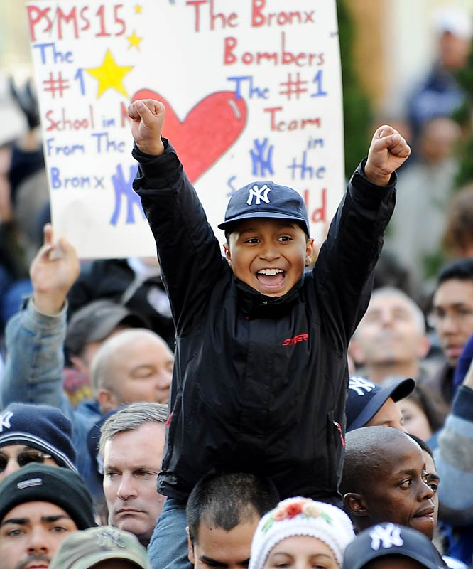 Young Yankees fans played hookie from school today to celebrate the victory of their heroes.