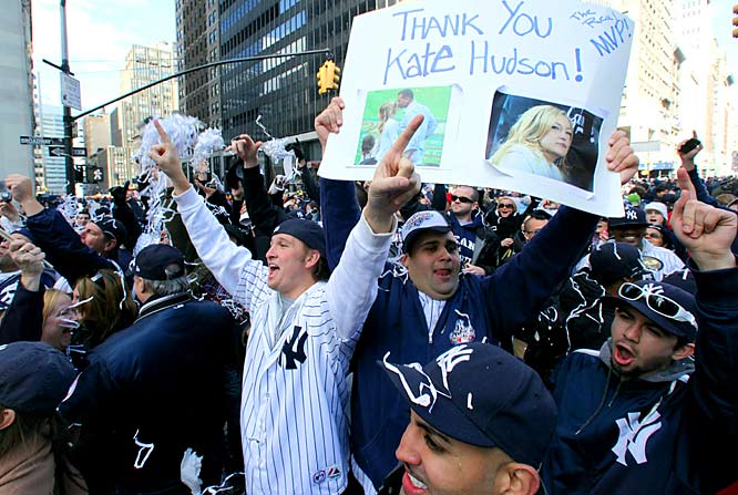 Yankees fan Chris Sessa thanks Kate Hudson for her role in the Yankees' victory.