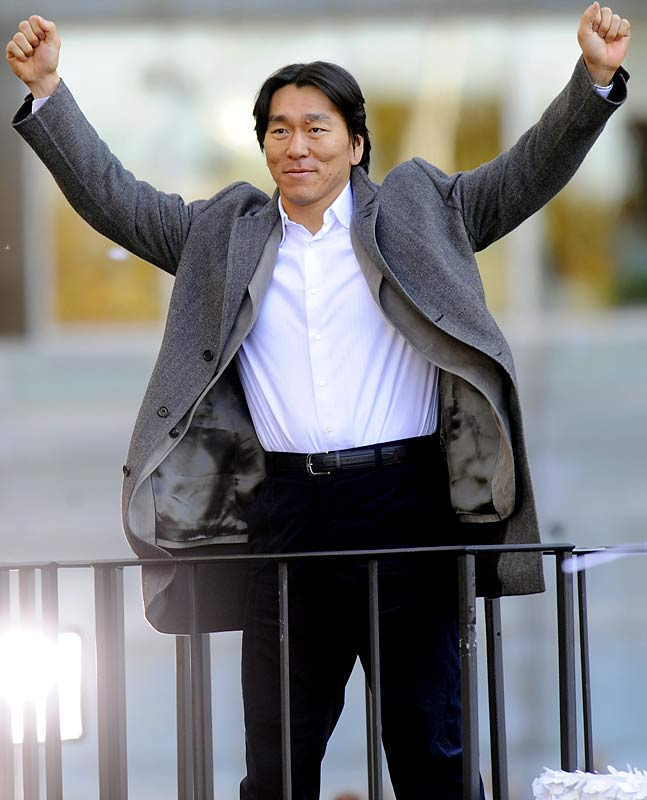 World Series MVP Hideki Matsui celebrates after what might be his last season as a Yankee.  Matsui drove in six runs in Game 6 and hit three homers during the Series.