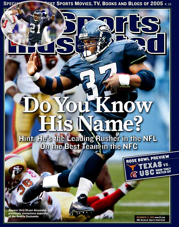The only Super Bowl team in Seahawks history, the 2005 squad ran off 11 straight from Weeks 5 to 16. They famously survived a Week 12 scare at home, winning 24-21 in overtime (inset) after Giants kicker Jay Feely was barely wide left on a 40-yard field goal attempt at the end of regulation, and then missed 54- and 45-yard attempts in overtime. Shaun Alexander & Co. weren't so fortunate in the Super Bowl, losing 21-10 to the Steelers.