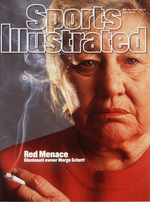 Schott, the chain-smoking former owner of the Cincinnati Reds, was a lightning rod for controversy and made headlines for her negative comments about African-Americans, Jews and homosexuals. She was banned from day-to-day operation of the Reds from 1996 through 1998, when she sold her share of the team.