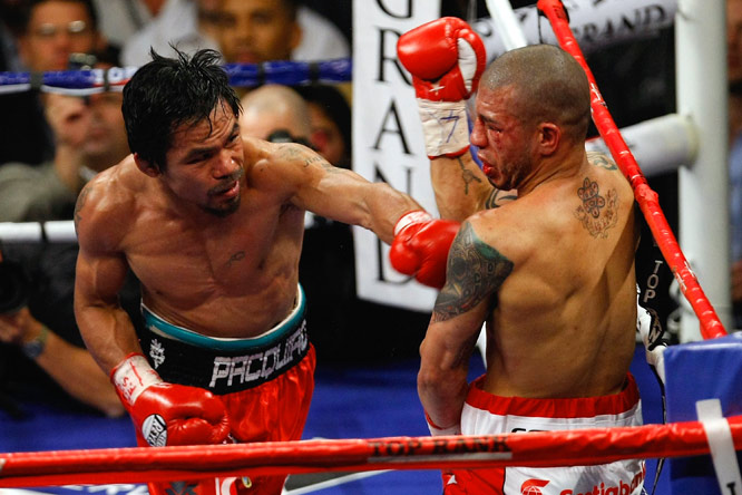 The fight was called in the 12th round, but Pacquiao, who was relentless with his jabs, had it sealed by the fourth.