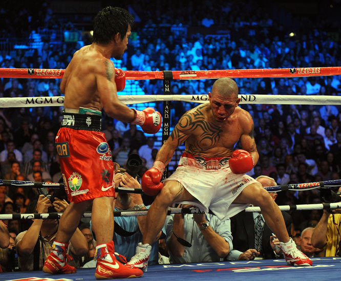 Pacquiao was so dominant in the later rounds that Cotto was fighting backward most of the time, just trying to survive.