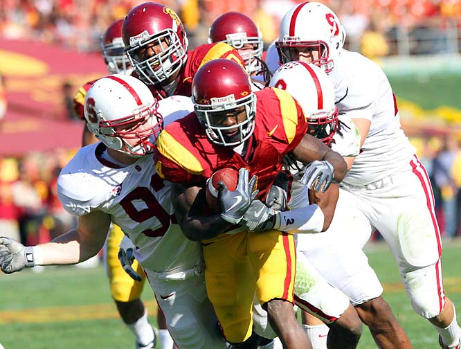 Was this team really ranked in the top three at the beginning of the year and in the top 10 as of last week? After seven consecutive BCS bowls, 11-win seasons, Pac-10 titles and AP top-four finishes, the Trojans saw their run come to an embarrassing end with a 55-21 thrashing to visiting Stanford. After years of complaining about going to the Rose Bowl at the end of each season, USC won't have to worry about that this year. The Trojans are likely heading to El Paso for the holidays.