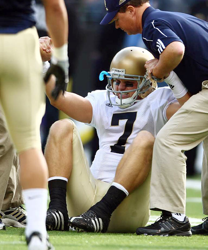 Things have gotten so bad for Clausen and Notre Dame that they're now getting roughed up after football games as well. Clausen reportedly suffered a black eye after getting punched by a Notre Dame fan at a bar in South Bend. Charlie Weis should just stay home.