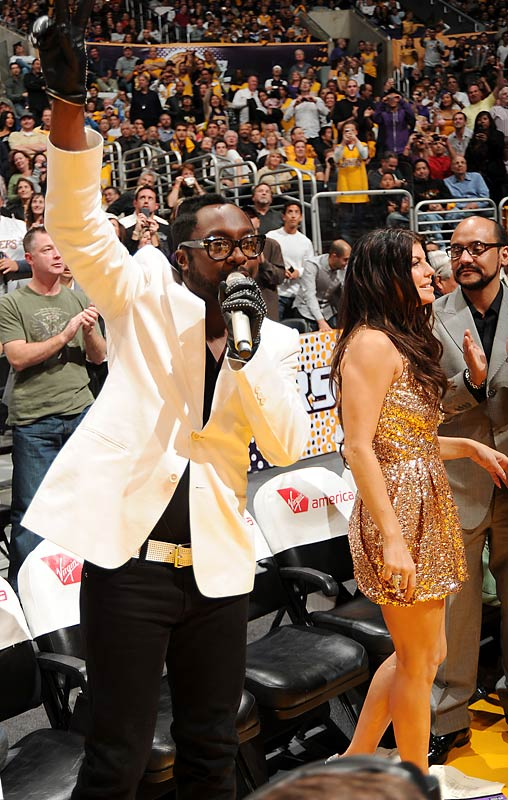 "Normally, the end of a blowout between the Lakers and Oklahoma City wouldn't be exciting. But that wasn't the case Sunday night in Los Angeles as will.i.am and Fergie grabbed a couple of microphones and starting singing  <i>I Got a Feeling</i> during a timeout. Even more bizarre: Alex Rodriguez and B-Real from Cypress Hill were standing beside them while they sang. When I asked Kobe Bryant if a concert had ever broken out midgame like that he said, ""No, but it was cool as s---."""