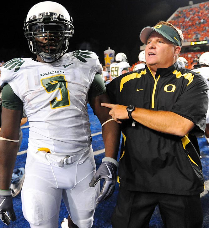 The Oregon Ducks running back was suspended for the season -- his sentence was later reduced to eight games -- for sucker-punching Byron Hout of Boise State after Hout taunted him following Oregon's 19-8 season-opening loss on national TV. Blount then got into an altercation with fans and had to be dragged off the field.
