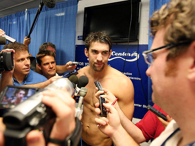 The Olympic golden boy was embarrassed by the February release of photos of him toking on a bong at a party in Columbia, SC, last November. They sparked a criminal investigation in which eight people were arrested. Phelps owned up to using bad judgment with regard to the wacky weed.