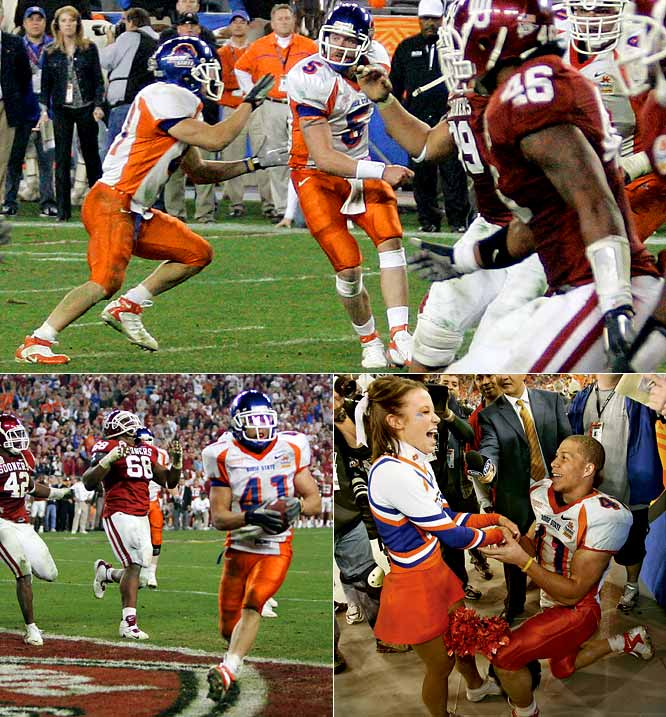 Boise State led Big 12 champ Oklahoma by 18 in the third quarter, and the Broncos seemed ready to cruise to a historically significant but relatively unexciting win. But Oklahoma roared back, taking a 35-28 lead on Marcus Walker's interception return for a touchdown with 1:02 left. Then came the Circus. That's the name of the play Boise ran on fourth-and-18 from the 50, when Jared Zabransky hit Drisan James at the 35, and James pitched to Jerad Rabb, who crossed the goal line with seven seconds to go. After Adrian Peterson scored to give Oklahoma the lead in overtime, the Broncos answered on a halfback pass. Not content to play a second OT, Boise State coach Chris Peterson called Statue, the Broncos' version of the ultimate backyard play, the Statue of Liberty. Ian Johnson scored the two-point conversion to shock the Sooners and then ran down the sideline, where he proposed to his girlfriend, cheerleader Chrissy Popadics. She said yes.