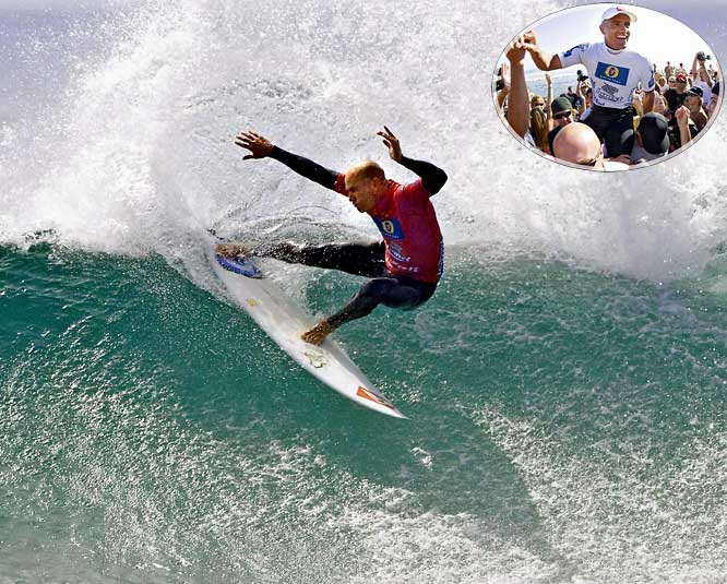 When Slater won the Boost Mobile Pro event at Lower Trestles near San Clemente, Calif., he surpassed Tom Curran's record of 33 career event wins. It is the most significant of the milestones achieved by Slater over the last 10 years, which also included, in 2005, the first set of perfect scores (20 out of 20) in history, and, in 2008, his record ninth ASP world title.