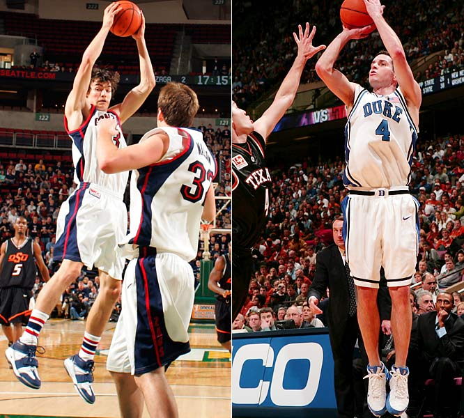 Throughout the 2005-06 season, Redick and Morrison battled to see who would lead the nation in scoring and who would win National Player of the Year. Their duel really began on this December day, when Redick had career highs of 41 points and nine three-pointers to lead No. 1 Duke to a blowout win over No. 2 Texas in the afternoon, and Morrison followed that evening by finishing with 25 points, including a banked-in three-pointer to beat Oklahoma State. Morrison eventually finished first in scoring while Redick was second, and the two men shared the Wooden Award.