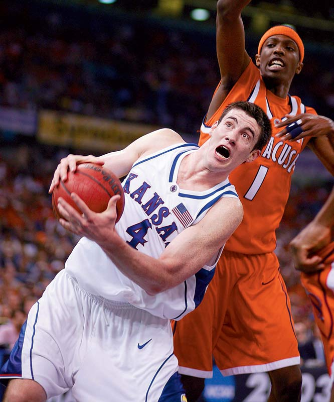 No player this decade had 20 points and 20 rebounds in an NCAA tournament game, but Collison almost did it twice just four games apart. Against Duke in the Sweet 16 he had 33 points and 19 rebounds, and against Syracuse in the title game he had 19 points and 21 rebounds, but made just 3-of-10 free throws in a game the Jayhawks lost by three. He finished the tournament with 81 rebounds, the most in any season this decade.