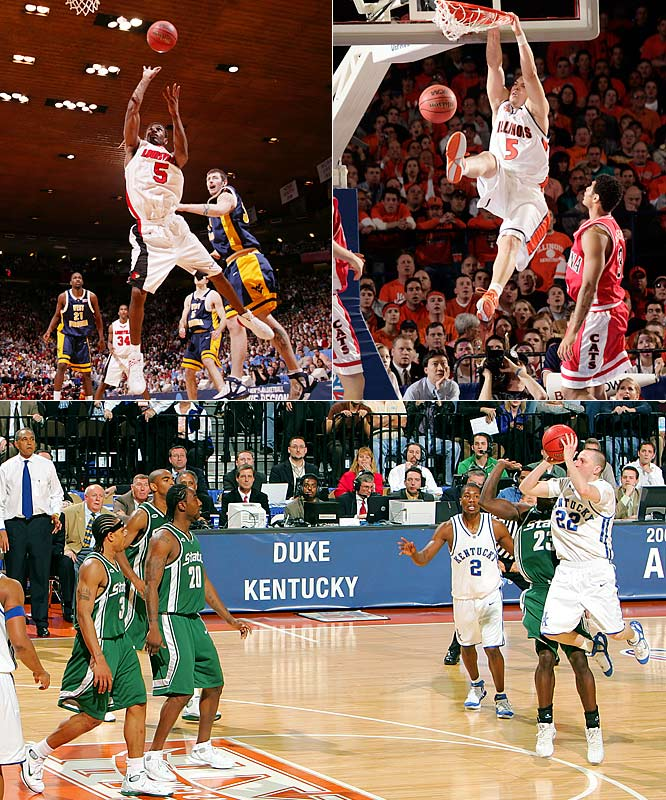 Three games from this round could each occupy spots on this list, but the trio belongs together. For the first time in the Big Dance's 67-year history, three regional finals were decided in overtime. Two Final Four-bound teams staged improbable comebacks on the same day: Illinois (which erased a 15-point deficit in the final four minutes against Arizona) and Louisville (which rallied from 20 down against West Virginia). The next day, Kentucky forced overtime with Patrick Sparks' desperation three-pointer (which prompted a seven-minute review to confirm it was indeed a three) before Michigan State prevailed in double OT.