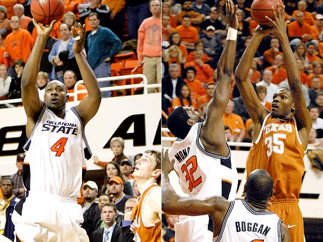 "Center Mario Boggan, a 16 percent three-point shooter, made a trey with 3.2 seconds left in the third overtime to lead the 12th-ranked Cowboys past the 21st-ranked Longhorns. Boggan finished with career highs of 37 points and 20 rebounds in 54 minutes. Kevin Durant, who would become the first freshman to win National Player of the Year, had given Texas the lead on a three-point play with 10 seconds to go, part of a 37-point, 12-rebound effort. ""I don't know if I'll ever be involved in another one like that,"" Texas coach Rick Barnes said."