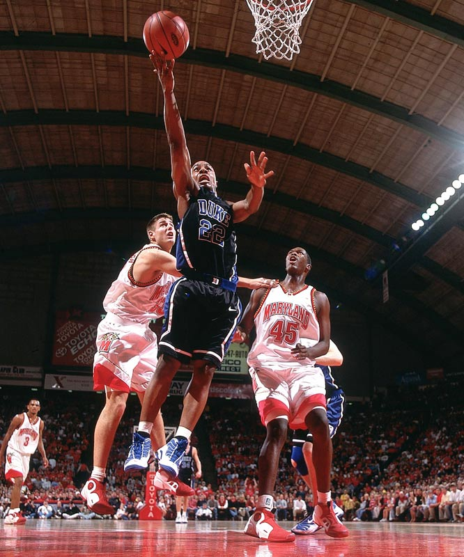 In the first of four classics between those two teams that year (including a meeting in the Final Four), Duke pulled off a miracle comeback at College Park. The second-ranked Blue Devils trailed No. 8 Maryland by 10 points with 54 seconds left, but All-America guard Jason Williams made two three-pointers and a pair of free throws in a 14-second span to get Duke within two. Two free throws from Nate James sent it to overtime. With Duke up two and four seconds left, National Player of the Year Shane Battier blocked a shot by Maryland's Juan Dixon that would have tied the game.