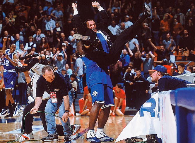No 16th seed has won an NCAA tournament game, and in this decade, only one No. 15 seed managed a victory, and it came in spectacular fashion. Hampton's Tarvis Williams made a shot in the lane to give the underdog Pirates a 58-57 lead with just under seven seconds remaining, and Iowa State's Jamaal Tinsley missed at the other end as the horn sounded. In a moment that has been part of March Madness montages ever since, Hampton coach Steve Merfeld was lifted in the air by his players, pumping his fists in jubilation.