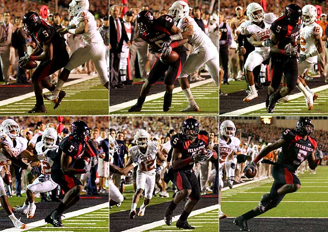 Crabtree could have stepped out of bounds and let Texas Tech try a field goal to win, but the Red Raiders were using a kicker they'd found during an in-game contest, and Crabtree thought he sensed an opening. So, with the clock ticking down, Crabtree spun to his left and broke free, sprinting into the end zone for the touchdown that ultimately knocked Texas out of the national title race. Crabtree finished the 39-33 win with 10 catches for 127 yards and one enormous touchdown.