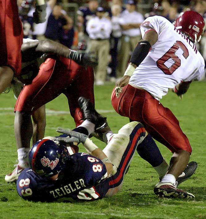 The score was tied at 17-17 when the clock struck zero. Seven overtimes and 80 points later, the Razorbacks celebrated a 58-56 win. The game came to a merciful end when Razorback Jermaine Petty stuffed Ole Miss tight end Dough Ziegler two yards shy of the goal line on a two-point conversion attempt that would have forced overtime No. 8 if successful. The game, which lasted four hours, 14 minutes, set NCAA records for overtimes, points scored in overtime and number of plays run (198).