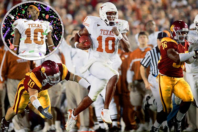 Before the 2006 Rose Bowl, no one wondered if Texas would win. All the pregame talk centered on where USC would fall in the pantheon of all-time great teams after its inevitable victory. Apparently, no one told Longhorns quarterback Vince Young, who dueled Heisman Trophy winners Matt Leinart and Reggie Bush for most of the night. With Texas trailing by five late, the Longhorns faced fourth-and-five from the USC eight. Young noticed USC defensive end Frostee Rucker had crashed inside, so Young raced right. He crossed the goal line with 19 seconds remaining, and added the two-point conversion to complete the best individual performance of the BCS era.