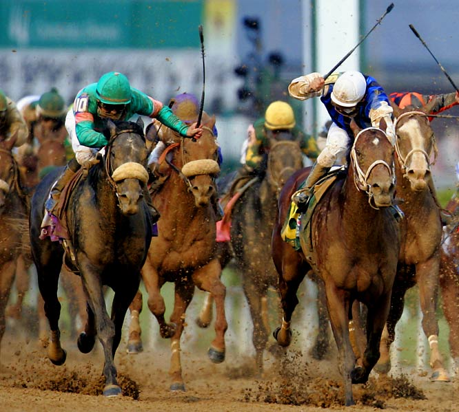 A 50-to-1 shot on a five-race losing streak, Giacomo (left) emerged from obscurity -- and far off the pace -- to win at Churchill Downs. But that was just part of a shocking race: Closing Argument (right) was second at 72-1 odds, even longer than the third-place finisher, Afleet Alex. That straight-up exacta paid $9,814.80 for a $2 wager.