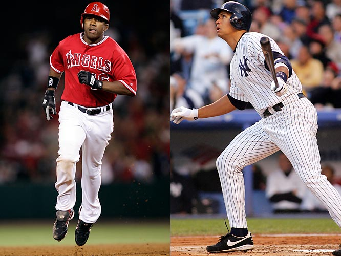 Two players had 10-RBI games in the decade. Rodriguez did it first, on April 26, 2005, jumping all over that year's AL Cy Young award winner, Bartolo Colon, with home runs in the first, third and fourth innings at Yankee Stadium. He then added an RBI single in the sixth before falling just short of a fourth homer and 11th RBI with a lineout to deep center in the eighth. On Aug. 21, 2007, Anderson keyed an 18-9 Angels win over the Yankees in Anaheim by scoring three runs on a pair of doubles in his first two trips, then connecting for a three-run homer and, after a groundout, a grand slam in the sixth before grounding out again in his final at-bat.
