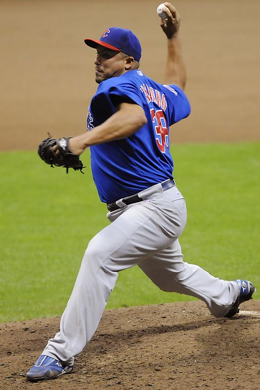 Other than Jonathan Sanchez and Mark Buehrle, only two men fell just one baserunner shy of perfection during the decade yet still completed a no-hitter. Lowe and Zambrano (pictured) both issued one walk and faced 28 batters in the process of throwing their no-nos, though Zambrano's, against the Astros (Sept., 14, 2008), came against a tougher lineup than Lowe's, against the Rays (April 27, 2002). Zambrano's came at a neutral site; the game was relocated from Houston to Milwaukee's Miller Park due to Hurricane Ike.