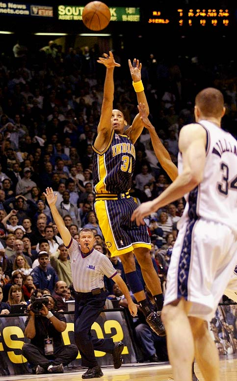 On the subject of double-overtime, first-round magic, surely Spurs fans will cite San Antonio's win over Phoenix in Game 1 of the '08 first round. That would've been a worthy choice for this spot, but we'll go with a decisive game from the Pacers-Nets series -- which prompted a rule change. Reggie Miller banked in an improbable (even for him) game-tying turnaround 39-foot three-pointer at the buzzer (after the buzzer, in fact, but the shot stood in the days before instant replay) of regulation and then forced a second OT with a surprising two-handed dunk. The Nets prevailed behind Jason Kidd's 31 points. Two months later, the league instituted instant replay.