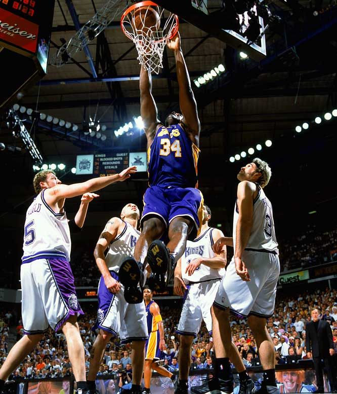 Because these were the league's two best teams, this was viewed as a winner-take-all game for the championship (the Lakers went on to sweep the Nets in the Finals). The Lakers trailed in the last minute of regulation and the final two minutes of overtime before finishing off an all-time great series. Shaquille O'Neal (35 points and 13 rebounds) and Kobe Bryant (30 and 10) combined to play 102 minutes. The Lakers joined the 1976 Suns (at Golden State) as the only road teams to win a Game 7 in the West finals. The Kings missed 14 of 30 free throws and came up small in crunch time with the exception of Mike Bibby, who scored 14 of their last 18 points.