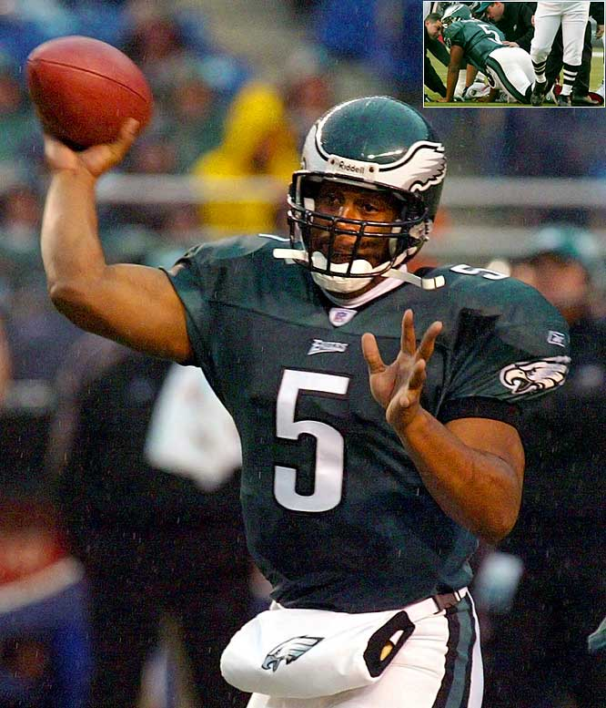 McNabb broke his right ankle on the third play of a game against the Cardinals yet hobbled his way to a career-high four touchdown passes in the Eagles' 38-14 victory. He finished 20-of-25 for 255 yards and did not have a rushing attempt for the first time in his career. McNabb would then miss the rest of the regular season with the injury.