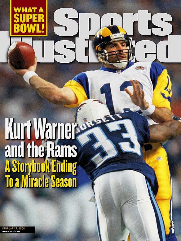 Warner punctuated his improbable rise in his first year as a starting quarterback by throwing for a championship-game record 414 yards in Super Bowl XXXIV. His 73-yard strike to Isaac Bruce with 1:54 left provided the winning margin in the Rams' 23-16 win against the Titans.