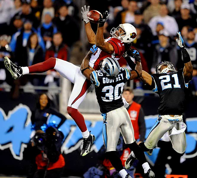Fitzgerald had at least 100 receiving yards and a touchdown in all four of Arizona's playoff games, including 127 yards and two touchdowns in the Super Bowl loss to Pittsburgh. He set single-postseason records for catches (30), receiving yards (546) and receiving touchdowns (seven).