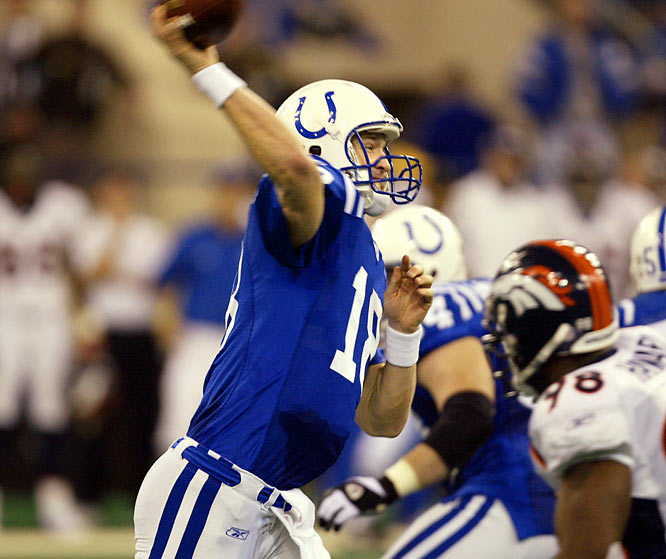 With regular-season co-MVP Manning throwing for touchdowns on the first four possessions, Indianapolis dominated Denver 41-10 in an AFC wild-card game. Manning finished 22-of-26 for 377 yards and five touchdowns, becoming the fourth QB to record a perfect passer rating of 158.3 in a playoff game. And he nearly did it again the following week, going 22-for-30 for 304 yards and three TDs in a 38-31 win at Kansas City.