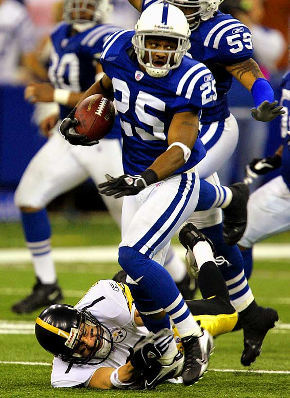 The twists-and-turns finish alone made this game a classic. With the Steelers holding a three-point lead and knocking on the Colts' goal line with 1:20 left, Gary Brackett forced Jerome Bettis to fumble. Colts cornerback Nick Harper recovered and raced into the open field, only to have Ben Roethlisberger make a touchdown-saving shoestring tackle at the Indy 42. The Colts drove into scoring possession, but  Mike Vanderjagt, who hadn't missed a field goal at home all season, was wide right on a 46-yarder that could have tied the score with 21 seconds to play. The sixth-seeded Steelers went on to win the Super Bowl; a Colts season that started 13-0 ended in disappointment.