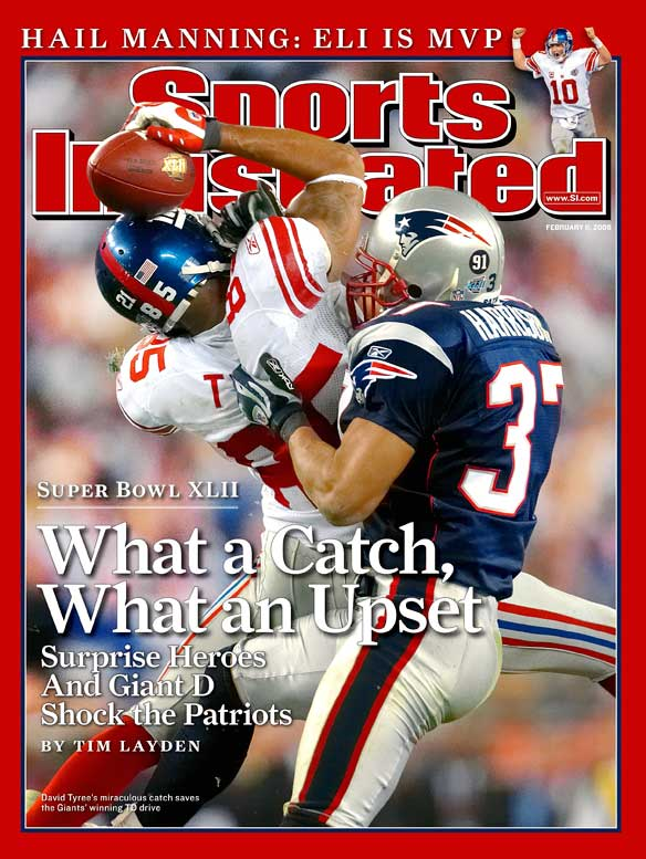 The 2008 championship game was a defensive struggle through three quarters, with the teams combining for only 10 points. But the drama began to build in the fourth quarter when it was apparent that New York might actually deny New England a place in history. The Patriots were seeking to become the first 19-0 team, but a New York pass rush sacked Tom Brady five times and harassed him countless others. David Tyree's 32-yard reception with a minute to play -- after an improbable third-down escape of a sack by Eli Manning -- set up Manning's winning 13-yard score to Plaxico Burress with 35 seconds to play. Tyree's helmet catch is arguably the most memorable play in Super Bowl history.