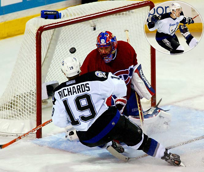 The Lightning center scored in overtime to beat the Canadiens, 4-3 in Game 3 of the Eastern Conference semi-finals. Two nights later, he got the decisive goal in a sweep. They were the second and third of his record-setting seven game-winning goals in the playoffs, earning him the Conn Smythe Trophy as the Lightning won the Stanley Cup. Richards led all postseason scorers with 26 points (12 goals, 14 assists), including four goals and five assists in the seven game Cup final vs. Calgary. The previous mark of six game-winners was held by Joe Sakic of the Avalanche in 1996 and Joe Nieuwendyk of the Stars in 1999.