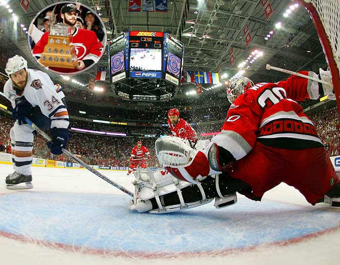 The Hurricanes goaltender, who came off the bench in the first round playoffs to take over as Carolina's starter, beat the Oilers with 22 saves in a 3-1 Game 7 win in the Stanley Cup Final. Ward earned the Conn Smythe Trophy as the first rookie since Patrick Roy in 1986 to backstop a team to the Cup.