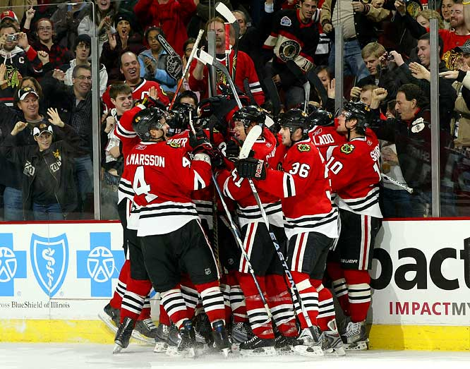 After giving up five goals on six shots to Calgary in the game's first 11:43 -- three came in the span of 53 seconds -- the Blackhawks regrouped and tied the NHL record for biggest comeback set by the St. Louis Blues against the Toronto Maple Leafs on Nov 29, 2000. John Madden made it 5-1 late in the first period. Patrick Kane, Dustin Byfuglien and Dave Bolland scored in the second, and Patrick Sharp made Chicago's United Center rock by tying the game early in the third. Brent Seabrook's goal won the game 26 seconds into overtime, giving Chicago a 6-5 win.