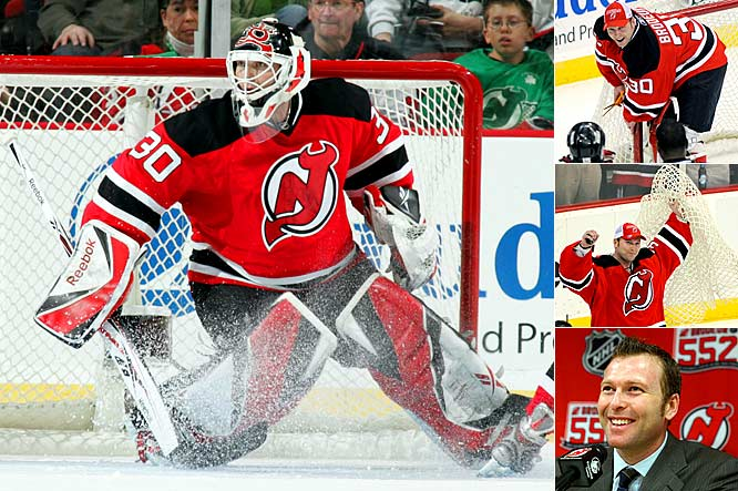 The Devils' netminder turned aside 30 shots in a 3-2 victory over Chicago that gave him the NHL's all-time wins mark (552). After the final buzzer, Brodeur cut the net off his goalposts and took a victory lap in New Jersey's Prudential Center. Three nights earlier, a sold-out crowd in his hometown of Montreal had chanted his name while he tied the mark held by his boyhood idol, Canadiens great Patrick Roy. The Habs' Hall of Fame netminder was on hand with Brodeur's father to celebrate the moment.