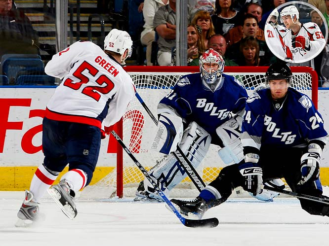 The 23-year-old Capitals blueliner became the first defenseman in NHL history to score a goal in eight consecutive games when he connected on a second-period power play in a 5-1 win over Tampa Bay. Alexander Semin fed Green in the slot and his first shot was blocked by Lightning wnger Matt Pettinger, but the puck went back to Green, who drove it past Karri Ramo, breaking the mark set by Boston's Mike O'Connell in 1983-84. Green collected 10 goals and 7 assists during his streak.