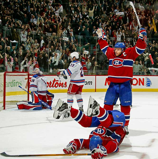 The Habs made the biggest regular season comeback in their storied history by rallying from a five-goal deficit to beat the New York Rangers, 6-5, in a shootout at Bell Centre. Michael Ryder sparked the rally with two second-period goals and Saku Koivu scored the winner in the shootout, spoiling Jaromir Jagr's big night. The Ranger winger's four assists had put him in the ranks of the NHL's top 10 all-time scorers, but Jagr was foiled by Cristobal Huet as the Rangers' last man in the shootout.