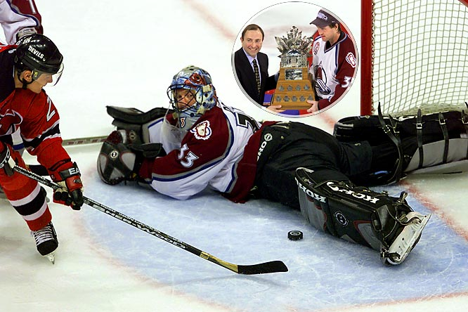 The great Colorado Avalanche goaltender made 25 saves to beat the Devils, 3-1, in Game 7 of the Stanley Cup Final, concluding a superb postseason in which he had a 1.70 goals-against average in 23 games, including four shutouts. For his efforts, Roy was presented with the Conn Smythe Trophy as playoff MVP for the third time in his career.