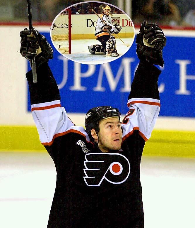 This one took seven hours from the time the first puck dropped until Flyers forward Keith Primeau ended the titanic five-overtime match between intrastate rivals. With the players almost in a trance-like state from exhaustion, Primeau drove down the right wing, went backhand to forehand to beat a defender and fired a shot over the shoulder of goalie Ron Tugnutt to end the match after 92:01 of extra play -- more than an additional game and a half.