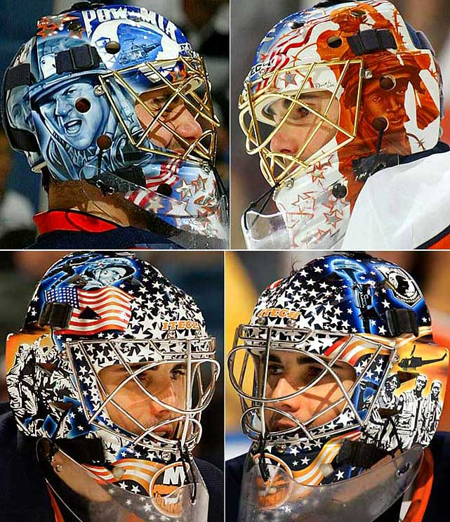 Since 2004, DiPietro's masks have paid tribute to the U.S. armed forces and veterans. His father, a helicopter pilot in the Vietnam War, was the inspiration behind DP's masks.  And the fact that his team plays in an arena called the Nassau Veterans Memorial Coliseum is not lost on the patriotic netminder.