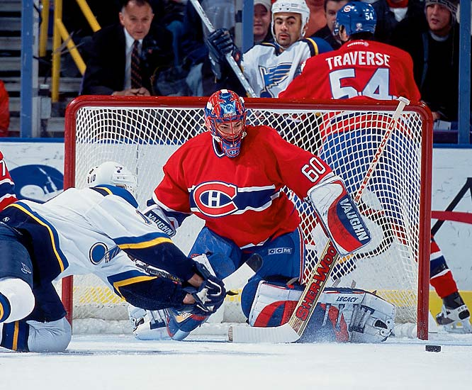 The surprise winner of the 2002 Vezina (top goaltender) and Hart (MVP) trophies edged such luminaries as Patrick Roy and Jarome Iginla, respectively, by razor-thin margins before reverting to his usual so-so form with Montreal the next season. He has since struggled to establish himself as a bona fide No. 1 goalie in Colorado and Washington.