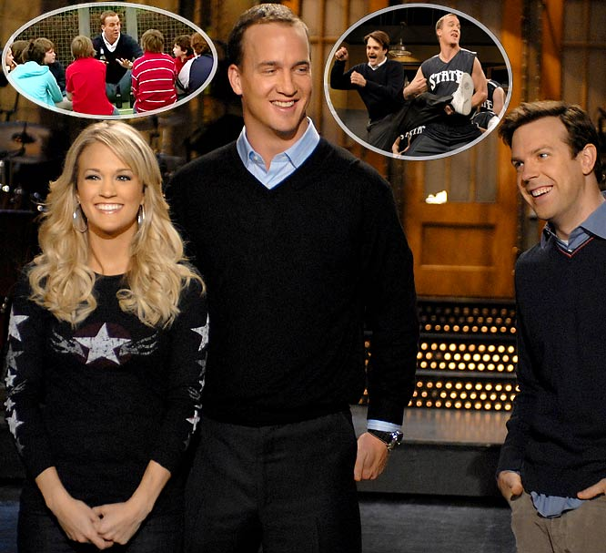 Other athletes have garnered good reviews for hosting the late-night show, but few received the accolades Manning got. The highlight was a United Way spoof in which the quarterback berated young kids.