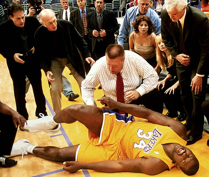In the <i>Curb Your Enthusiasm</i> episode titled <i>Shaq</i>, the then-Lakers big man was tripped by Larry, who was sitting courtside. The two later got into a fight over a Scrabble game while Larry visited Shaq in the hospital.