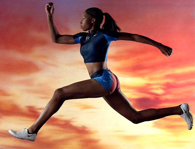 """We built a 30-foot ramp, painted a sunset sky background and had some foam pads for Allyson Felix to crash into as the future Olympian did a series of runs and jumps in advance of her first major story in <i>SI</i>."""