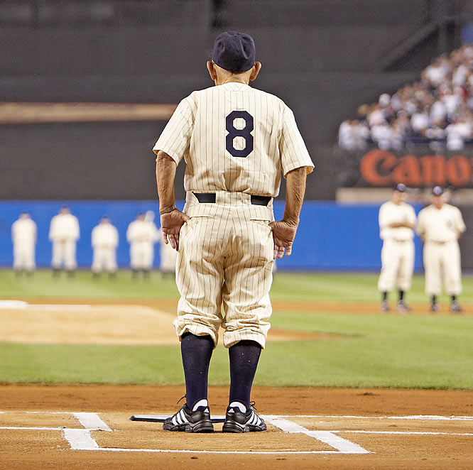 """There were so many images to make at the last game at the old Yankee Stadium. But when Yogi Berra slowly walked out and stood at home plate where he had spent so many years, I knew the moment and image would be memorable."""