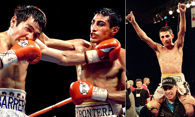 Erik Morales survived a 12th-round knockdown to escape with a split decision over Antonio Barrera in the first bout of their memorable trilogy. It was The Ring magazine's pick for Fight of the Year in 2000.