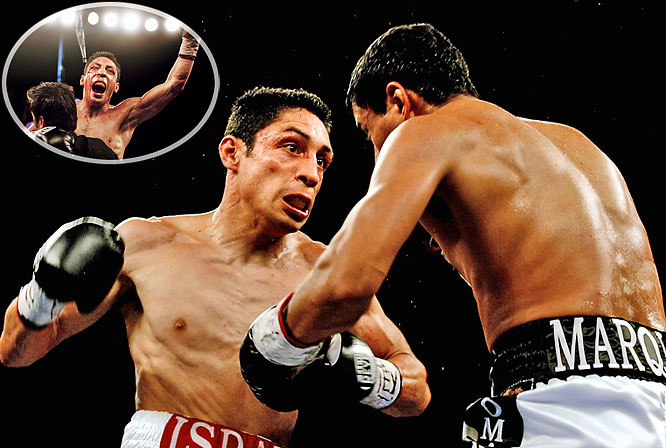 Five months after bantamweight champion Rafael Marquez moved up in weight and stopped junior featherweight titlist Israel Vazquez, the fighters waged a thrilling rematch in the border town of Hidalgo, Texas. After five back-and-forth rounds, Vazquez regained the 122-pound world championship with a scintillating sixth-round TKO.